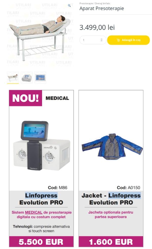 Diferență prețuri presoterapie